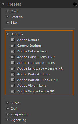 raw default presets