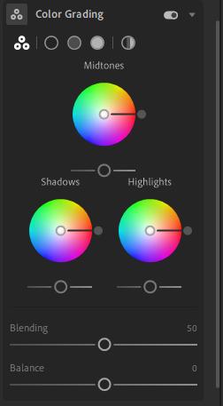 narzędzie color grading lightroom desktop